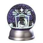 HOLY FAMILY LIGHTED SWIRL GLITTER DOME - 1