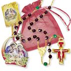 CHRISTMAS ROSARY GIFT SET - RED BEADS - 1