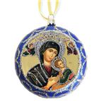 OUR LADY OF PERPETUAL HELP ICON ORNAMENT - BLUE - 1