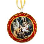 HOLY FAMILY ICON ORNAMENT - RED - 1