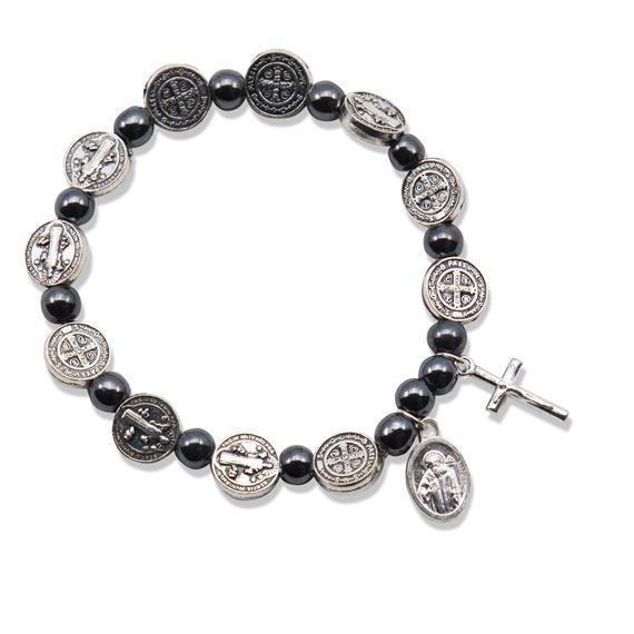 a1c9ffd952a HEMATITE ST. BENEDICT STRETCH ROSARY BRACELET | EWTN Religious Catalogue