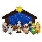 CHILDREN'S WOODEN BUILDABLE STANDING NATIVITY KIT - 1