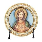 SACRED HEART OF JESUS ROUND PLAQUE WITH EASEL - 1