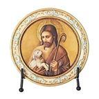 GOOD SHEPHERD ROUND PLAQUE WITH EASEL - 1