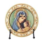 MADONNA AND CHILD ROUND PLAQUE WITH EASEL - 1