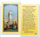 LAMINATED HOLY CARD OUR LADY OF FATIMA - 1