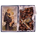ST. ANTHONY -  BROWN WOOD BEAD ROSARY - 1