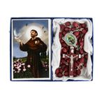 ST. FRANCIS -  BROWN WOOD BEAD ROSARY - 1
