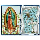OUR LADY OF GUADALUPE-TURQUOISE GLASS BEAD ROSARY - 1