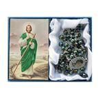 ST. JUDE -  GREEN GLASS BEAD ROSARY - 1