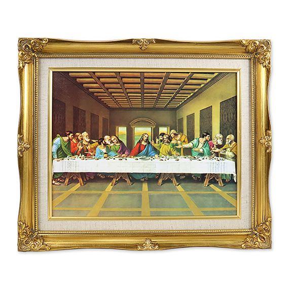 Last Supper Framed With Linen Mat