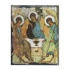 "TRINITY ANGELS RUSTIC WOOD ICON PLAQUE 8"" x 10"" - 1"