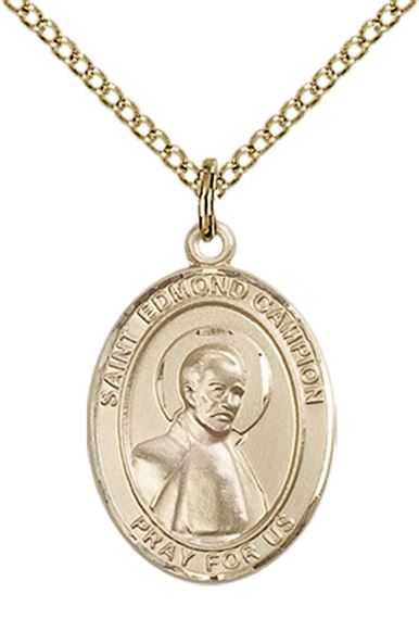 Patron Saint of Wales 14kt Gold Filled St Edmund Campion Pendant with 18 Gold Filled Lite Curb Chain