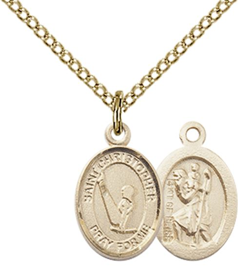 Patron Saint of Travelers//Motorists Christopher Pendant with 18 Gold Filled Lite Curb Chain 14kt Gold Filled St