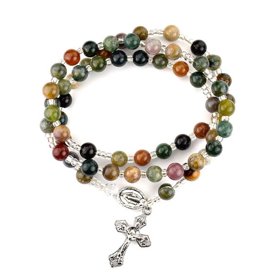 Indian Agate Twile Wrap Rosary Bracelet