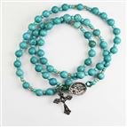 TURQUOISE TWISTABLE WRAP ROSARY BRACELET - 1