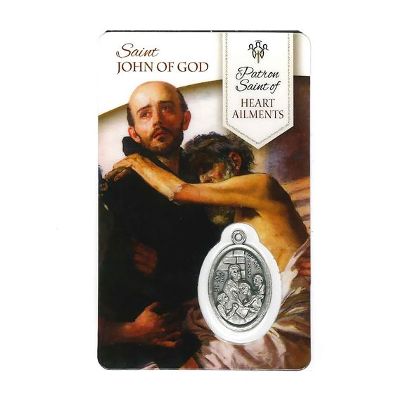 HEALING SAINT JOHN OF GOD HOLY CARD WITH MEDAL