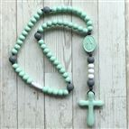 MINT GREEN AND GREY SOFT BABY ROSARY - 1