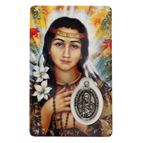 ST. KATERI TEKAKWITHA  HOLY CARD WITH MEDAL - 1