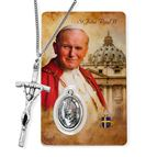 ST. JOHN PAUL II PAPAL CRUCIFIX AND HOLY CARD SET - 1
