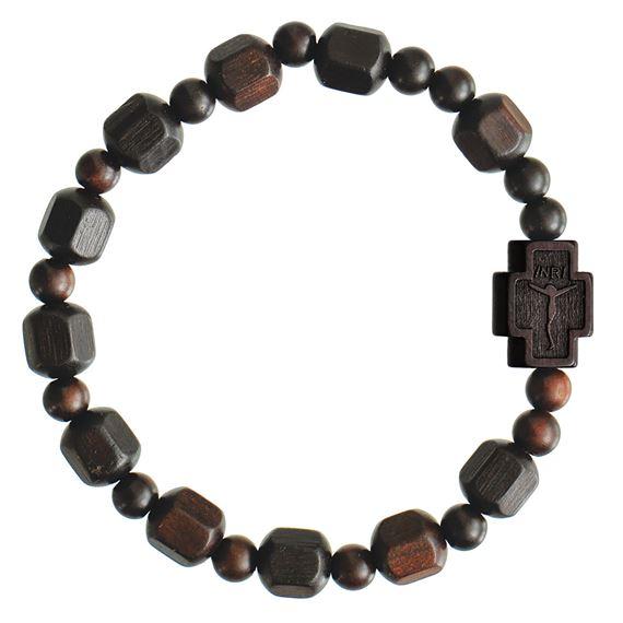 Jujube Wood Bead Rosary Bracelet