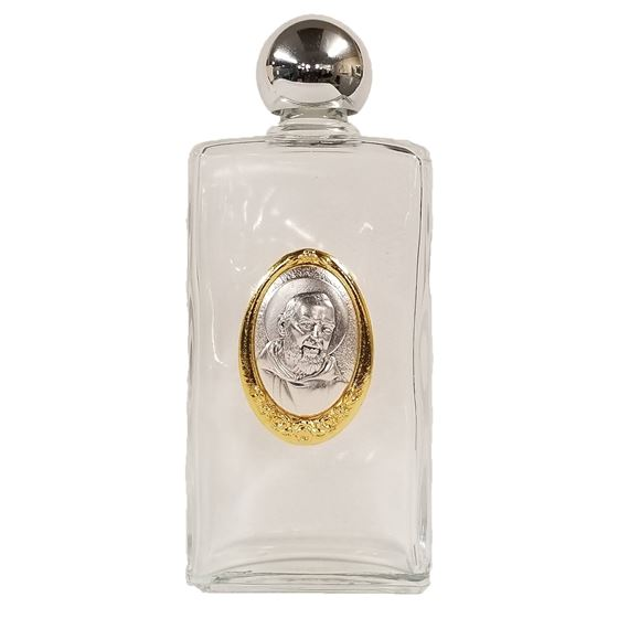 ST. PIO 13-OUNCE HOLY WATER BOTTLE (GLASS)