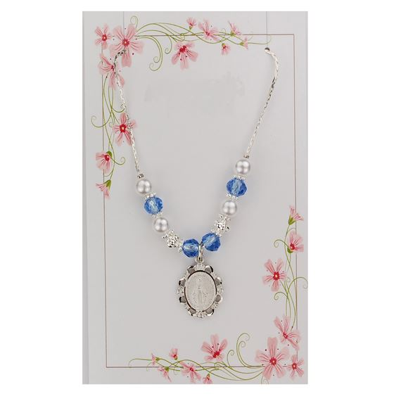 BLUE AND PEARL MIRACULOUS MEDAL NECKLACE