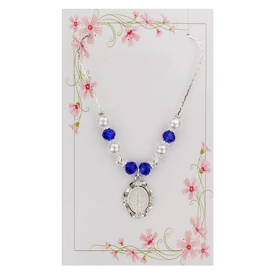 DARK BLUE AND PEARL MIRACULOUS MEDAL NECKLACE