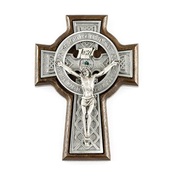WALNUT AND PEWTER CELTIC CRUCIFIX