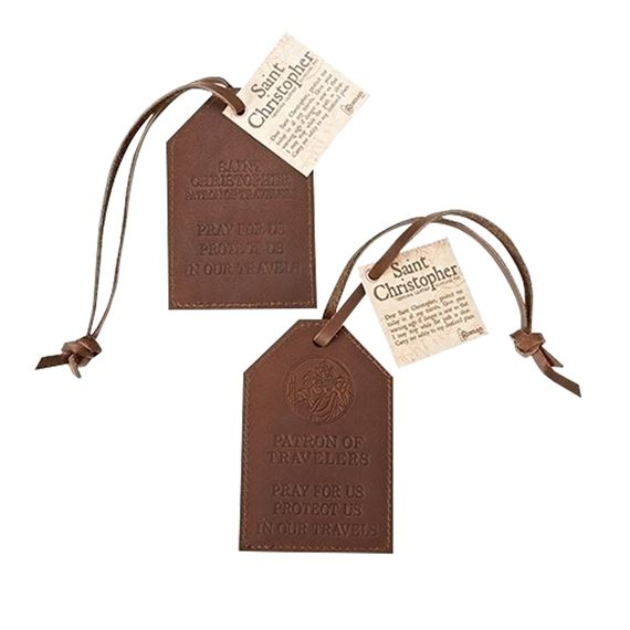 ST.  CHRISTOPHER LEATHER LUGGAGE TAGS (SET OF 2)