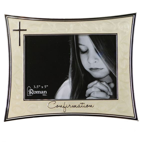 CONFIRMATION PICTURE FRAME IVORY AND SILVER