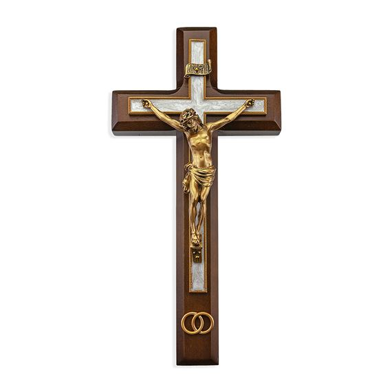 WALNUT WEDDING CRUCIFIX WITH ANTIQUED GOLD AND ENAMEL