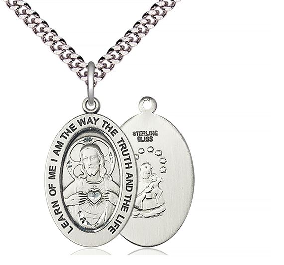 "STERLING SILVER SCAPULAR PENDANT WITH CHAIN - 1"" x 5/8"""