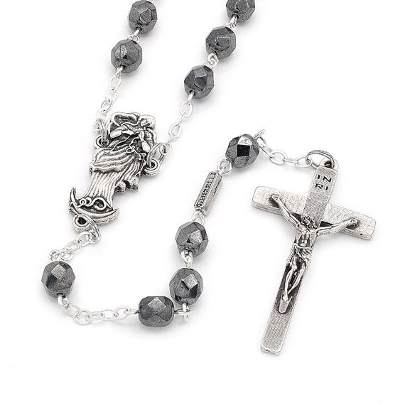 OUR LADY UNDOER OF KNOTS ROSARY - HEMATITE GLASS