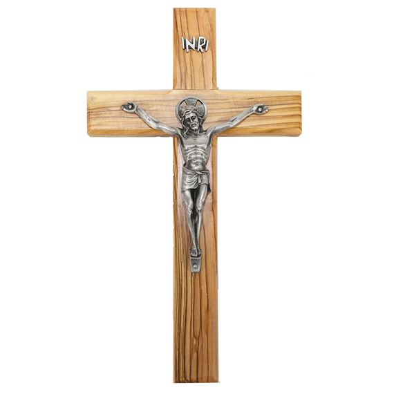 OLIVE WOOD CRUCIFIX PEWTER CORPUS 9½ - Inch