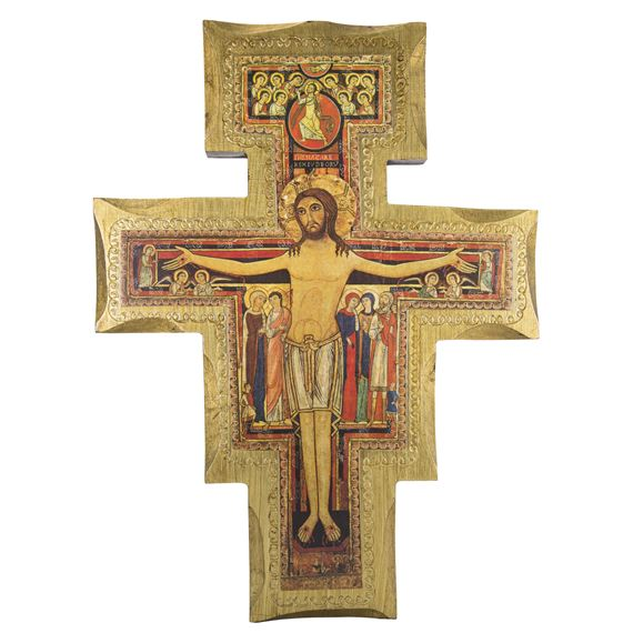 SAN DAMIANO DECORATIVE WOOD ICON CRUCIFIX