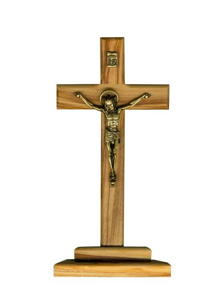 OLIVE WOOD CRUCIFIX ON STAND - 7 INCH