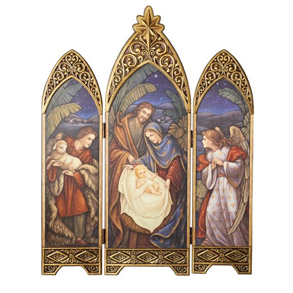 NATIVITY TRIPTYCH WITH ANGEL, SHEPHERD AND STAR - 36""