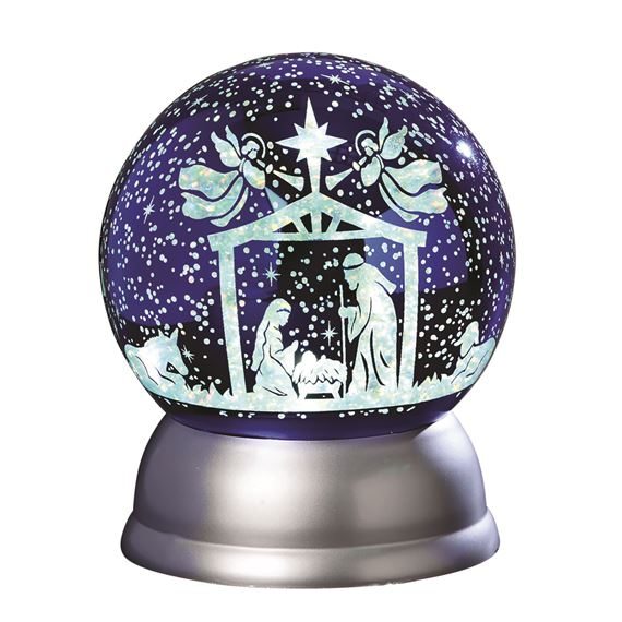 HOLY FAMILY LIGHTED SWIRL GLITTER DOME