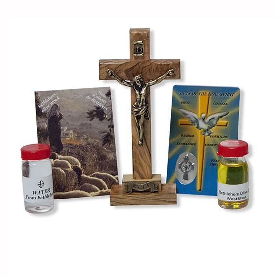 RCIA OLIVE WOOD CRUCIFIX , WATER AND OIL SET