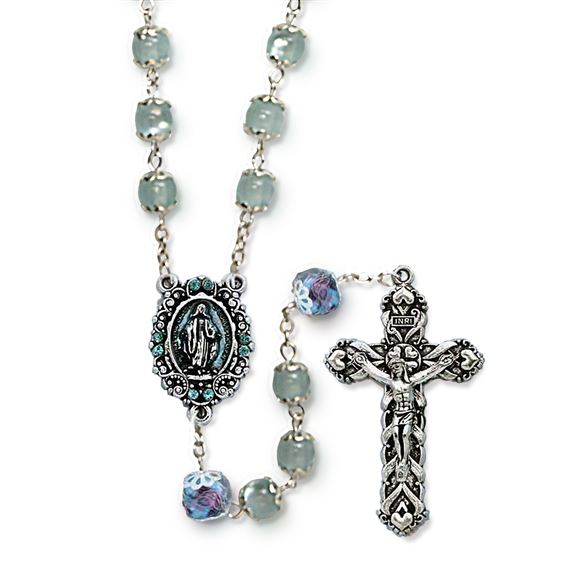BLUE CAT'S EYE ROSARY WITH ENAMELED CENTER