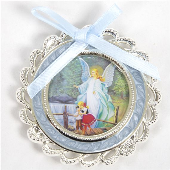 GUARDIAN ANGEL CRIB MEDAL - BLUE
