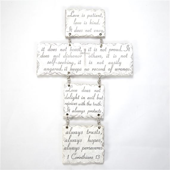 LOVE LETTERS - HANGING CROSS PLAQUE