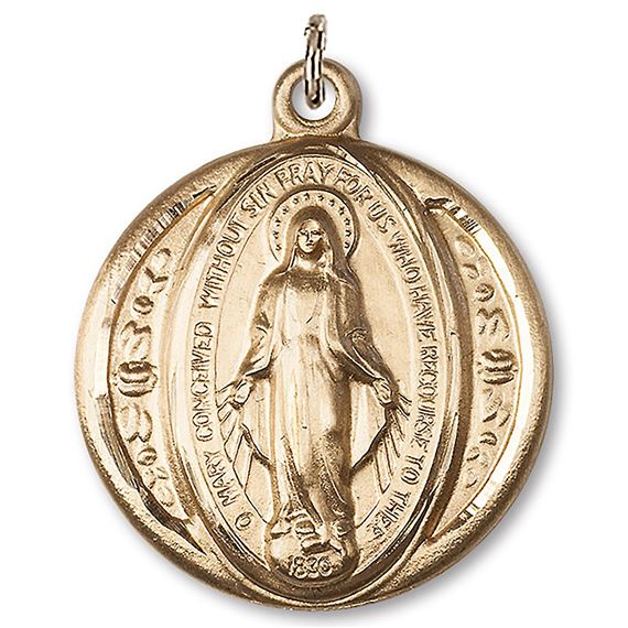 ROUND 14KT GOLD MIRACULOUS MEDAL