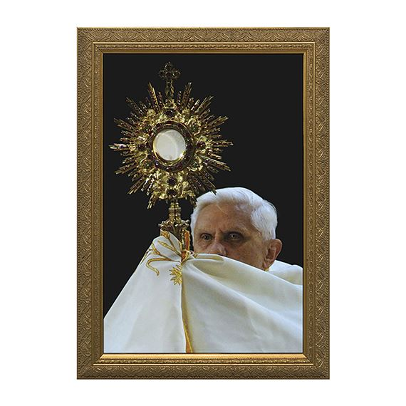 POPE BENEDICT XVI WITH MONSTRANCE IN GOLD FRAME
