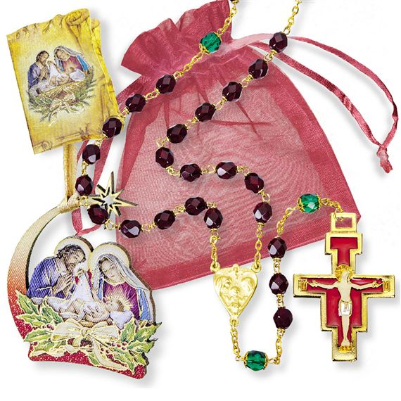 CHRISTMAS ROSARY GIFT SET - RED BEADS