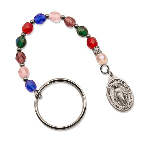 SINGLE DECADE ROSARY KEYCHAIN - MULTICOLOR