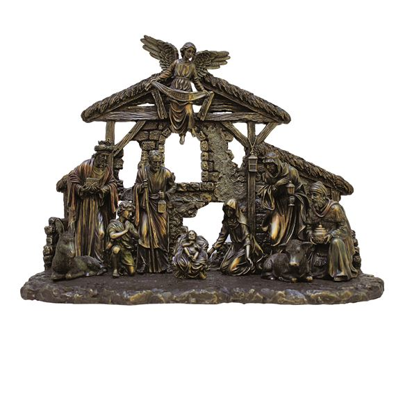 VERONESE COLD-CAST BRONZE NATIVITY WITH STABLE