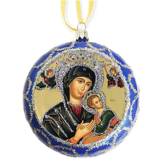 OUR LADY OF PERPETUAL HELP ICON ORNAMENT - BLUE