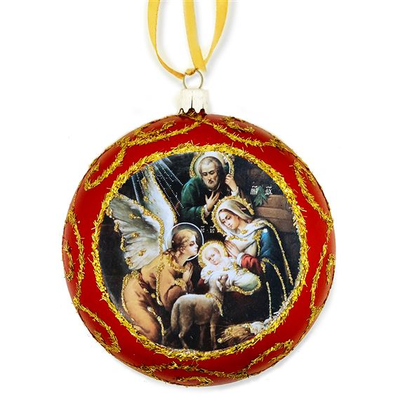 HOLY FAMILY ICON ORNAMENT - RED